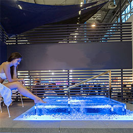 Cold dip pool with surrounding glass walls