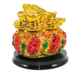 Golden Wealth Pot With Abacus