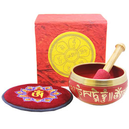 Red OM Mani Singing Bowl