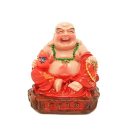Red Rose Sitting Laughing Buddha With Wu Lou